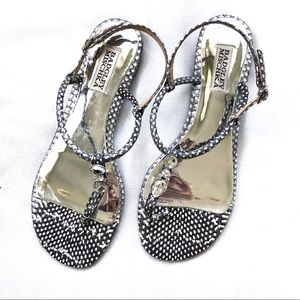 Badgley Mischka Crystal Snakeskin Thong Sandals